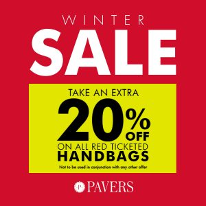 Extra 20% off handbags Pavers store Affinity Outlet Staffordshire